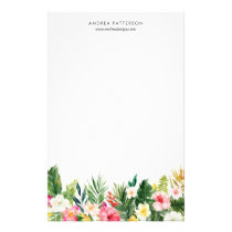 Watercolor Tropical Flowers and Leaves Stationery