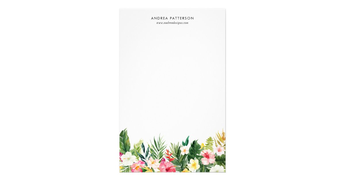 watercolor tropical flowers and leaves stationery zazzle com