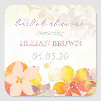 Watercolor Tropical Flowers Bridal Shower Square Sticker