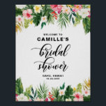 "Watercolor Tropical Flowers Bridal Shower Welcome Poster<br><div class=""desc"">Watercolor Tropical Flowers Bridal Shower Welcome Sign. Customizable floral bridal shower welcome sign featuring watercolor illustrations of plumeria,  hibiscus,  orchids,  birds of paradise,  palm leaves,  banana leaves and split leaf philodendron. This botanical welcome sign is perfect for tropical theme bridal showers.</div>"