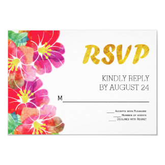 Watercolor tropical flowers gold leaf RSVP Card