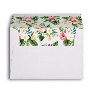 Watercolor Tropical Flowers Personalized Envelope