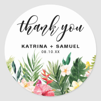 Watercolor Tropical Flowers Wedding Thank You Classic Round Sticker