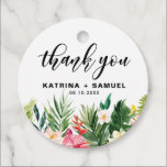 """Watercolor Tropical Flowers Wedding Thank You Favor Tags<br><div class=""""desc"""">Watercolor Tropical Flowers Wedding Thank You Favor Tags   Add a personalized accent to party favors and thank you cards with this floral thank you favor tags. It features tropical watercolor flowers and greenery: orchids, hibiscus, plumeria, bird of paradise, palm leaves, split leave philodendron, banana leaves and fern. Perfect for...</div>"""