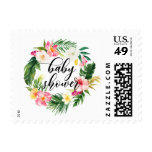 Watercolor Tropical Flowers Wreath Baby Shower Postage