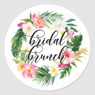 Watercolor Tropical Flowers Wreath Bridal Brunch Classic Round Sticker