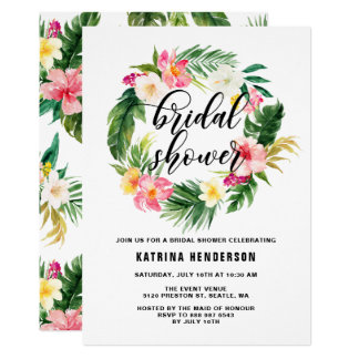 Watercolor Tropical Flowers Wreath Bridal Shower Card