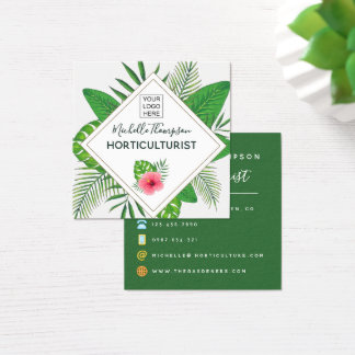 Watercolor tropical foliage personalized square business card