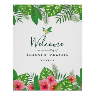 Watercolor tropical foliage Wedding Welcome Poster