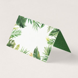 Watercolor Tropical Greenery Frame Place Card