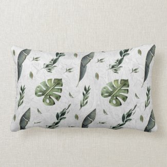 Watercolor Tropical Jungle Leaves Lumbar Pillow