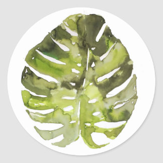 Watercolor Tropical Leaf Painting Classic Round Sticker