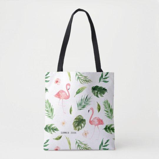 Watercolor Tropical Leaves And Flamingo Tote Bag