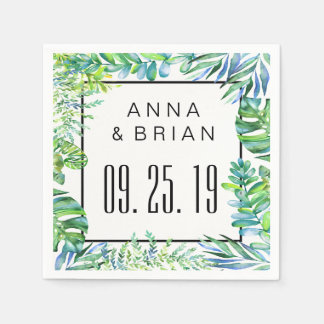 Watercolor Tropical Leaves Custom Wedding or Party Napkin