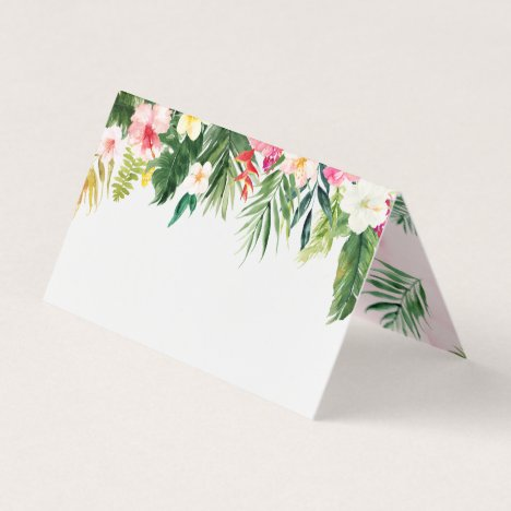 Watercolor Tropical Leaves Folded Place Card