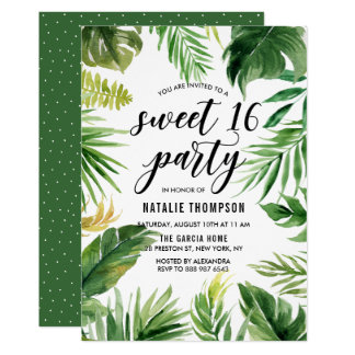 Watercolor Tropical Leaves Frame Sweet 16 Party Card