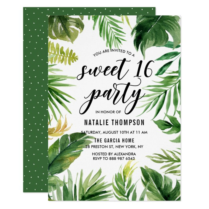 Watercolor Tropical Leaves Frame Sweet 16 Party Invitation Zazzle Com Cute sloth jungle baby shower by mail invitation. watercolor tropical leaves frame sweet 16 party invitation zazzle com