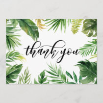 Watercolor Tropical Leaves Frame Thank You Card