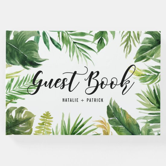Watercolor Tropical Leaves Frame Wedding Guest Book