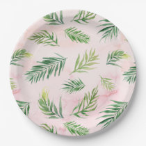 Watercolor Tropical Leaves Luau Party Paper Plates