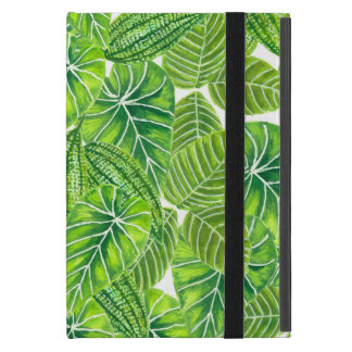 Watercolor tropical leaves pattern design iPad mini cover