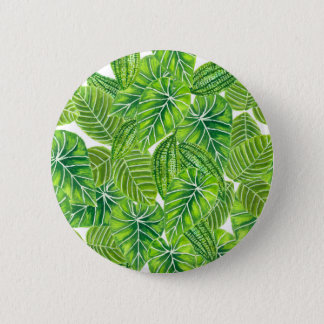Watercolor tropical leaves pattern design pinback button