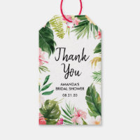Watercolor Tropical Leaves Thank You Gift Tags