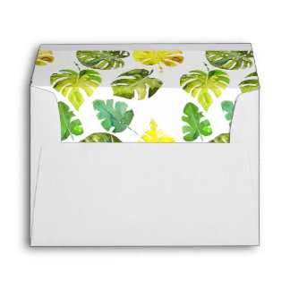 Watercolor Tropical Leaves wedding decor Envelope