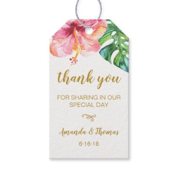 Wedding Themed Watercolor Tropical Leaves Wedding Favor Tag
