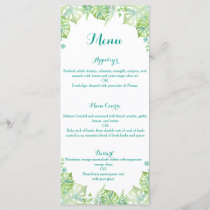 Watercolor tropical leaves wedding menu