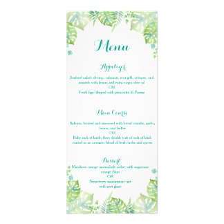 Watercolor tropical leaves wedding menu