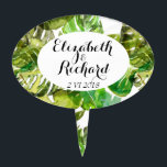 """Watercolor Tropical Leaves wedding  monogram Cake Topper<br><div class=""""desc"""">Lovely,  green,  watercolor painting - tropical pattern with Monstera palm leaf - beautiful summer wedding theme. Fun,  trendy for wedding in caribbean/ hawaiian style,   easy to customize with your own names and wedding ceremony details.</div>"""