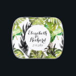 "Watercolor Tropical Leaves wedding  monogram Jelly Belly Candy Tin<br><div class=""desc"">Lovely,  green,  watercolor painting - tropical pattern with Monstera palm leaf - beautiful summer wedding theme. Fun,  trendy for wedding in caribbean/ hawaiian style,   easy to customize with your own names and wedding ceremony details.</div>"