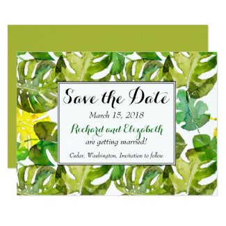 Watercolor Tropical Leaves wedding Save the Date Invitation