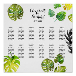 Watercolor Tropical Leaves wedding Seating Chart