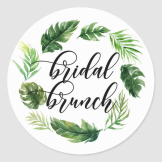 Watercolor Tropical Leaves Wreath Bridal Brunch Classic Round Sticker
