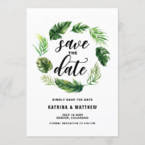 Watercolor Tropical Leaves Wreath Save the Date
