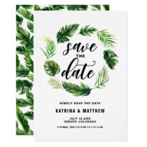 Watercolor Tropical Leaves Wreath Save the Date Card