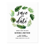 Watercolor Tropical Leaves Wreath Save the Date Postcard