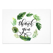 Watercolor Tropical Leaves Wreath Thank You Card