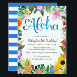 "Watercolor Tropical Luau Birthday Party Invite<br><div class=""desc"">A bold,  beautiful watercolor luau design; perfect for any tropical party!  The background stripes on the back of the card can be customized to any color you&#39;d like.</div>"