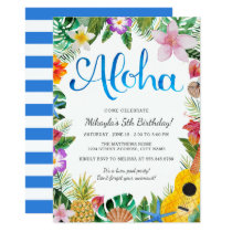 Watercolor Tropical Luau Birthday Party Invite