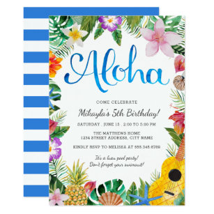 Luau birthday invitations announcements zazzle watercolor tropical luau birthday party invite stopboris