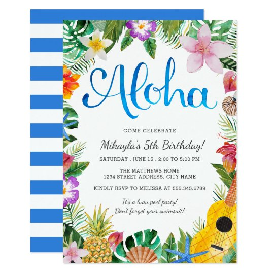 Watercolor Tropical Luau Birthday Party Invite Zazzlecom