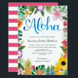 """Watercolor Tropical Luau Graduation Party Invite<br><div class=""""desc"""">A beautiful watercolor luau design; perfect for any tropical party!  The background stripes on the back of the card can be customized to any color you&#39;d like.</div>"""