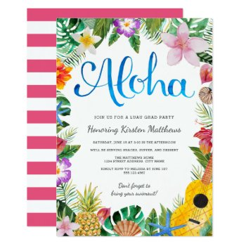 Watercolor Tropical Luau Graduation Party Invite by Orabella at Zazzle