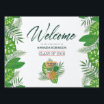 "Watercolor tropical Luau Graduation Welcome Lawn Sign<br><div class=""desc"">Watercolor painting tropical leaves Luau Graduation Welcome Sign customizable to your event specifics.</div>"