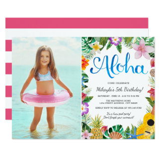 Luau party invitations announcements zazzle watercolor tropical luau photo birthday party card stopboris Gallery