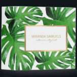 """Watercolor Tropical Monstera Leaves Pattern 3 Ring Binder<br><div class=""""desc"""">Coordinates with the Watercolor Tropical Monstera Leaves Pattern Business Card Template by 1201AM. An elegant tropical motif of watercolor monstera leaves becomes an eye-catching pattern on this personalized binder. The faux gold frame adds a luxe accent around your name or business name. Art and design &#169; 1201AM Design Studio 