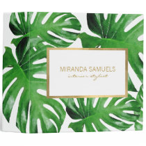Watercolor Tropical Monstera Leaves Pattern 3 Ring Binder